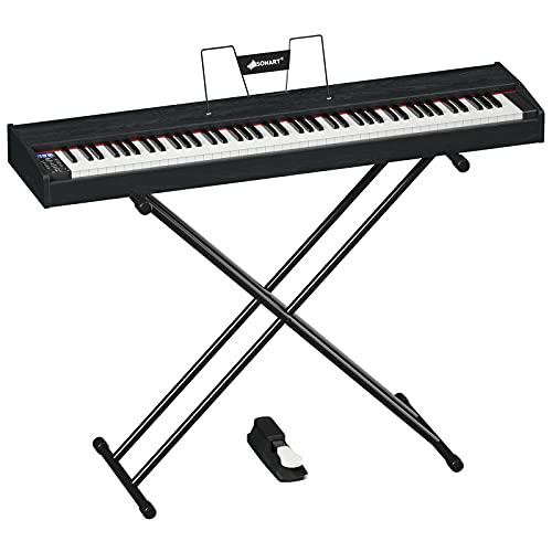 GOPLUS Kit pianoforte tastiera 88 tasti, pianoforte elettronico con cuffia e panchina, piano tastiera digitale pedale di sostegno e un'applicazione pianoforte, 135 x 32,5 x 10,5 cm, Nero