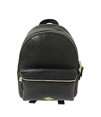 Coach Mini Charlie Pebble Leather Backpack (Black)