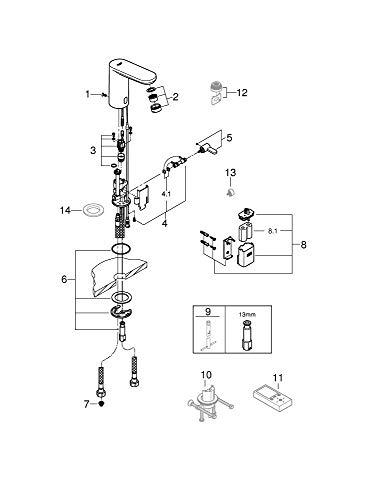 Grohe – Waschtisch-Sensorarmatur, Kalt- und Warmwasser, Batterieversorgung inkl., Funktionsmodi, Chrom - 8