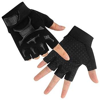 Kid Half Finger Fingerless Cycling Gloves Mitten for Child Children Exercise Skate Skateboard Accessories Roller Skating Other Sports Anti-Abrasion  Black