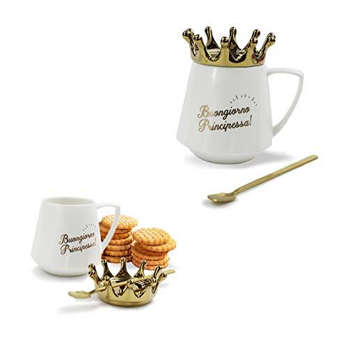 Mood Milano - Tazza King & Queen con Coperchio a Forma di Corona Dorata e cucchiaino in Ceramica di Colore Bianco Decorata con Scritte Dimensioni 12 x 11 cm (Bianco Principessa)