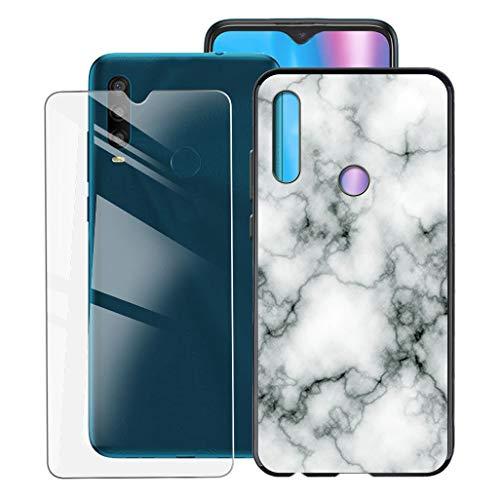 ZXLZKQ Fundas + Protector Cristal Templado para Alcatel 1SE 2020 (6.22 Pulgadas), Negro Case Silicona Suave Caso TPU Carcasa,HD Cristal Vidrio Película Protectora - Canica
