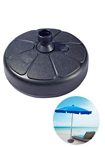 iPenty Pied de parasol rond en plastique robuste et portable avec roulettes pour parasol de terrasse à remplir d'eau et de sable en métal