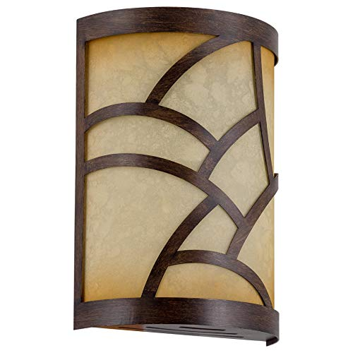 "Kira Home Cromwell 9.5"" Traditional Wood Style Metal Chime Cover + Tea-Stained Glass (Chime Not Included), Wood Style Finish"