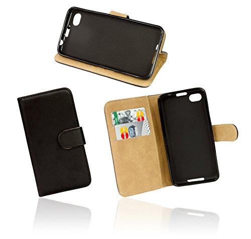 ENERGMiX Buchtasche kompatibel mit Wiko Rainbow 4G LTE Hülle Hülle Tasche Wallet BookStyle in Schwarz