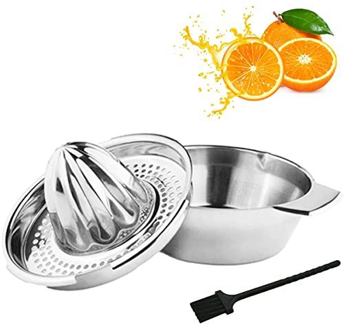 Zitronenpresse Zitruspresse Edelstahl Citrus Juicer Stainless Steel, Saftpresse Manuell mit Behälter Limettenpresse für Zitrusfrüchte, Zitronen, Limetten, Apfelsinnen, Grapfruit, Orange Squeezer