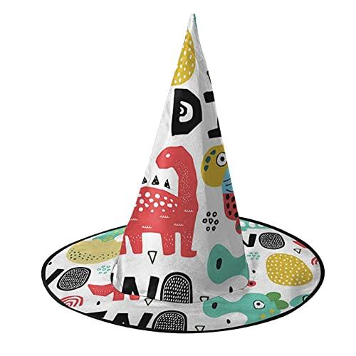 Sombrero de bruja unisex para Halloween, disfraz de dinosaurios, hoja de huevo, árbol de coco, accesorio de cosplay para niños y mujeres, negro