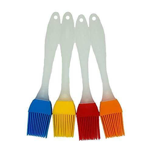Binhai Grillpinsel Küche Silikon Backpinsel & BBQ Backpinsel, Variierend Helle Farbe - Best Kitchen Gadget (Ölpinsel 4er Pack)