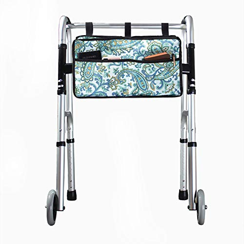 Walker Bag, Hands Free Accessory Basket for Folding Walkers, Multi-Purpose Cell Phone,Water Bottle,Medicine Attachment Fits for Wide and Narrow Styles, Multiple Pockets Tote Caddy Pouch for Elderly