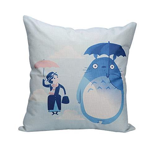 Elviros Lino y Algodón Blend Decorativo Funda de Cojínes 45x45 cm [18x18'' Pulgadas]-Totoro en Las Nubes