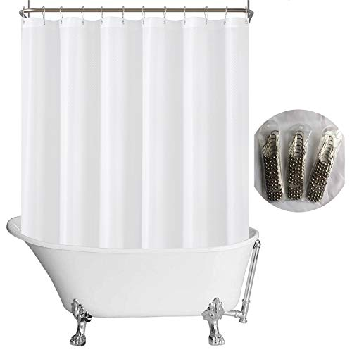 N&Y HOME Fabric Clawfoot Tub Shower Curtain 180 x 70 inches All Wrap Around, 36 Hooks Included, Hotel Quality, Washable, Water Repellent, Diamond Pattern White Bathroom Curtains with Grommets
