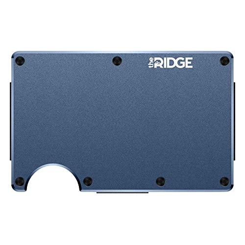 The Ridge Slim Minimalist Front Pocket RFID Blocking Metal Wallets for Men with Money Clip (Navy)