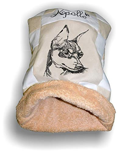 LunaChild Handmade Hunde Individuelle Kuschelhöhle Schlafsack Kuschelsack Prager Rattler 2 Pinscher Zwergpinscher Hundebett Name personalisiert Größe S M L oder XL viele Farben