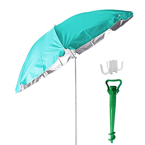 Besch Sombrilla para Playa, Jardín o Piscina, incluiye Soporte de Tornillo y una Percha - Acero e Inclinable con Protección Solar UV50+ (Ø 180cm, Verde)