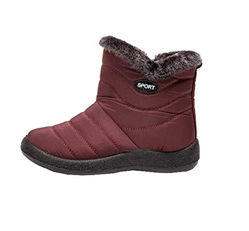 YilianDaD Botas de Nieve para Mujer Impermeables Forro Calentar de Piel Zapatos Invierno Al Aire Libre Antideslizante Zapatillas Bota