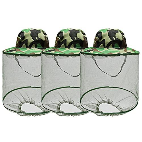 Máscara de Mosquito Sombrero Apicultores Herramientas Sombrero de Apicultura con Velo, Cabeza de Mosquito Sombrero de Red para Colmenar, Pesca, Protección de Entusiastas al Aire Libre 3 Pack