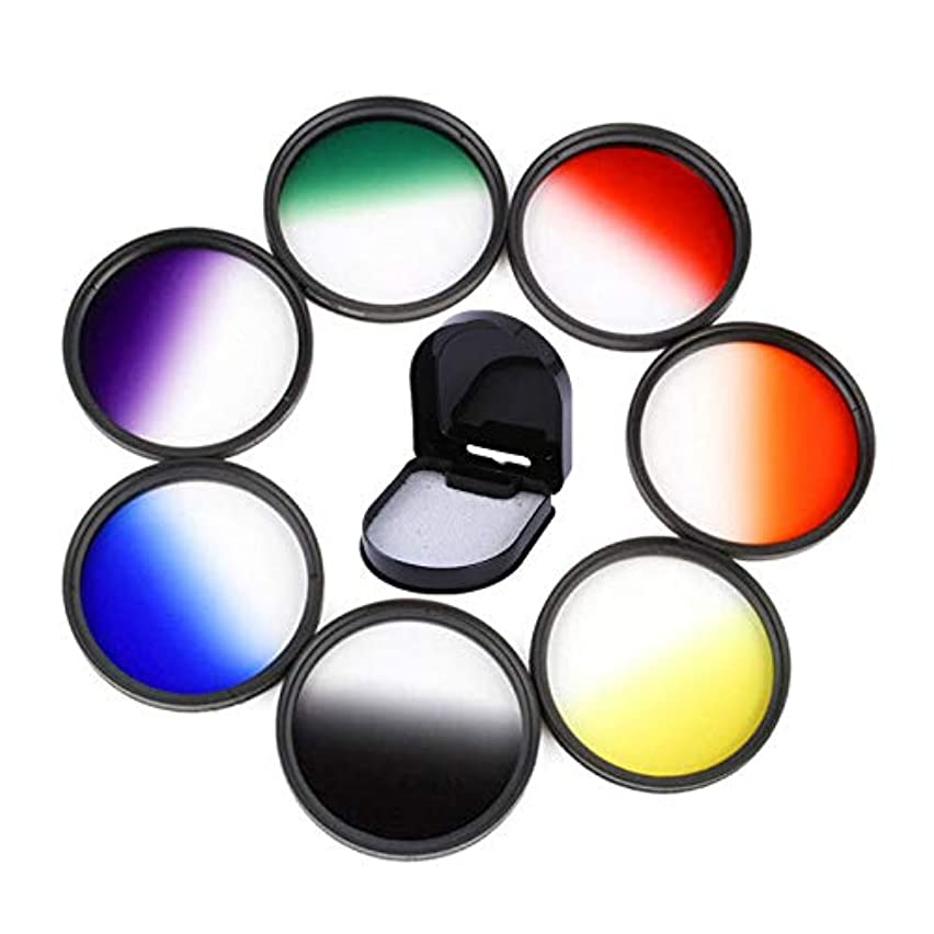 FidgetFidget Graduated Color Filter Green Orange Red Purple Yellow Blue Grey Camera Lens Graduated Grey 72mm