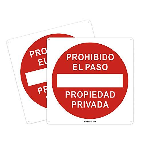 2pcs Señal de No Entrar en Propiedad Privada, Cartel de Metal 300 * 300mm