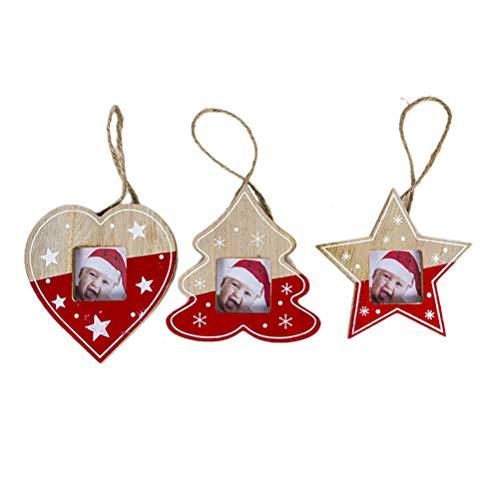 BESTOYARD Weihnachtsbaum Anhänger Bilderrahmen Design Stern Weinachtsbaum Herz Form Weihnachtsbaumschmuck Weihnachten Hängede Deko 3 Stück (Rot)