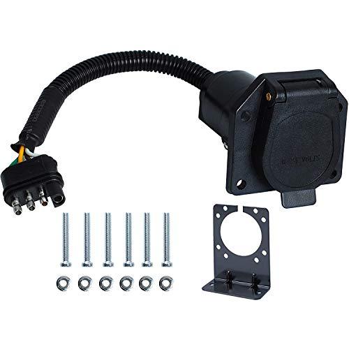 Wadoy - Adaptador eléctrico para remolque de 4 planos a 7 vías, con soporte de montaje para coche, camión, caravana, enchufe de luz de remolque, adaptador convertidor de arnés de cable