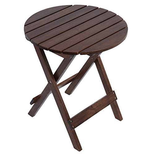 Round Folding End Table,Lanyun Patio Side Table Porch Table Snack Table for Balcony Garden Yard Lawn Living Spaces Patio Coffee Bistro Table Farmhouse Bedroom Household Pub Table (Brown)
