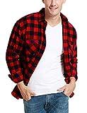JEETOO Homme Chemise à Carreaux Manche Longue Casual Slim Fit en Flanelle (Rouge, XX-Large)