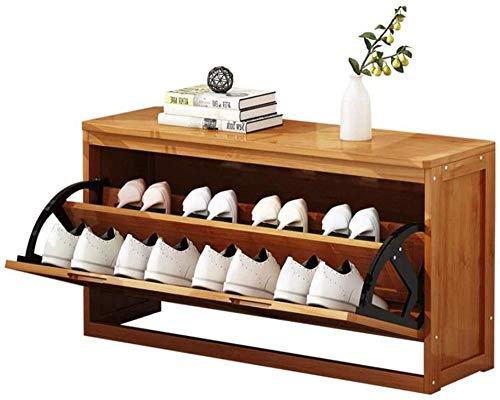 Banc à Chaussures avec Porte-Chaussures en Bois à tiroir basculant avec siège pour Couloir de Chambre à Coucher (Taille: 60 cm)-50cm Uptodate