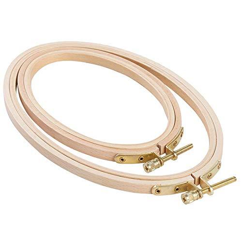 Gesh 2 aros de bordado ovalados que incluyen 1 pieza de 20 x 13 cm y 1 pieza de 15 x 10 cm para manualidades de costura práctica.