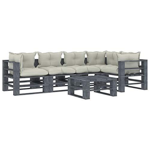 FAMIROSA Set Muebles de palés para jardín 6 Piezas Madera Cojines Beige (126,4kg)-2575