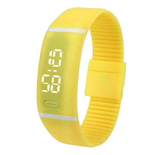 Evansamp Armbanduhr, weißes Licht, Silikon, neutral, Sport, Fitness, Analog, Digitaluhr, gelb (Gelb) - Evansamp20113