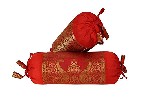 Indian Round Roll Red Silk Bolster Pillow Cushion Covers Sofa Decor Set of 2 Pcs Designer Decorative Peacock Design Bolster Cover Maroon Color 18 x 8 Inch