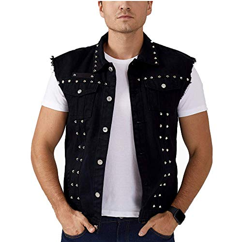 Rock Punk Denim Vest Jacket - Men's Motorcycle Jeans Waistcoat with Metal Rivets Battle Vest (Black,XXS)