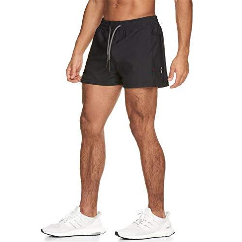 OGN.RG Running Shorts de Secado rápido Hombres Gym Fitness Sports Bermudas Jogging Training Pantalones Cortos Summer Male Multi-Pocket Beach Pantalones de chándal Black XL