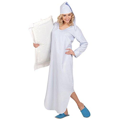 Amakando Nachtkleid mit Schlafhaube - XL - Nachthemd und Zipfelmütze Schlafhemd Unisex Schlafrock Pyjamahemd Pyjamaparty Nachtwäsche Nachthemd und Zipfelmütze