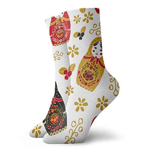 N/A Anzug-Socken,High Performance Tennissocken,Sport/Sneaker Socken,Business Socken,Traditionelle Russische Puppe Gedruckt Feuchtigkeitskontrolle Laufsocken Langlebige Atmungsaktive Trainingssocken