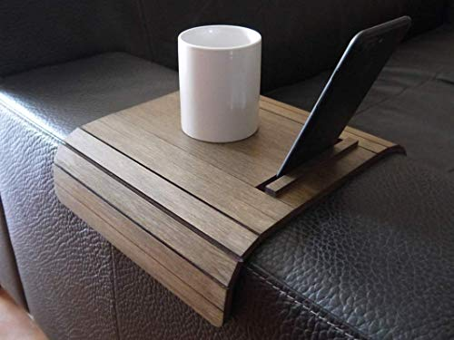 Mini tavolino laterale da bracciolo divano in legno con stand telefono e ebook reader personalizzabile wenge Piccolo vassoio colorato lato poltrona per salotto moderno Tavolini soggiorno