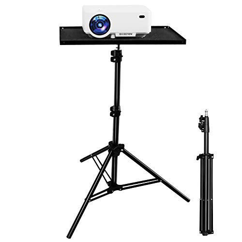 Projector Tripod Stand, Universal Aluminum Laptop Projector Stand, 24.8' to 61.8' Adjustable Universal Multi-Function Stand with Plate (Black)- Computer, Book, DJ Equipment