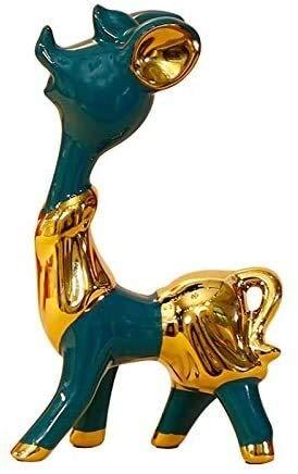 YANRUI Cerámica Golden Elk Estatua Artesanía Modelo Escultura Arte Figurines Decoración del hogar Accesorios Decoración Escritorio Escritorio Accesorios Niños Juguetes Regalos (Color : S)