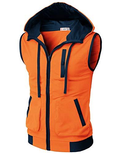 H2H Mens Casual Lightweight Sleeveless Zip-up Vest Tank Hoodies Orange US M/Asia L (CMOHOSL011)