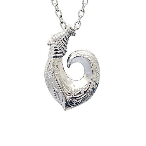 Hawaiian Fish Hook Necklace by Austaras - Necklace Pendant for Men and Women - 925 Sterling Silver Hawaiian Jewelry with Chain Made of Hypoallergenic 316L Stainless Steel Hawaiian Pendant