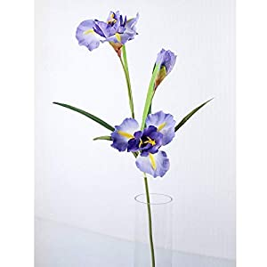 Artificial and Dried Flower 90cm Iris Artificial Flowers 2 Heads and 1 Bud Silk Fake Flower for Home Wedding Decoration Indoor