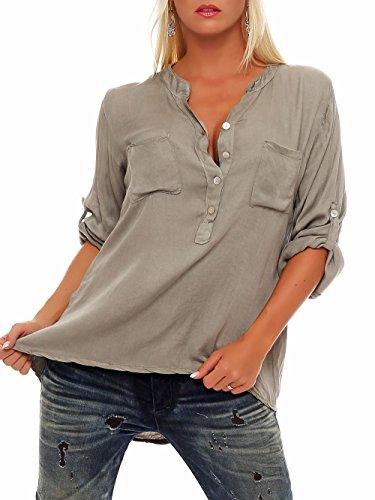Malito Damen Bluse mit Knopfleiste | Tunika mit ¾ Armen | Blusenshirt auch Langarm tragbar | Elegant - Shirt 9015 (Fango)