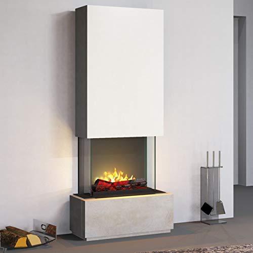 Muenkel design Prato - Opti-Myst elektrische open haard kachel - zonder verwarming - breedte 90cm - natuursteen Blanco leisteen beige - rookvanger zwart-grijs