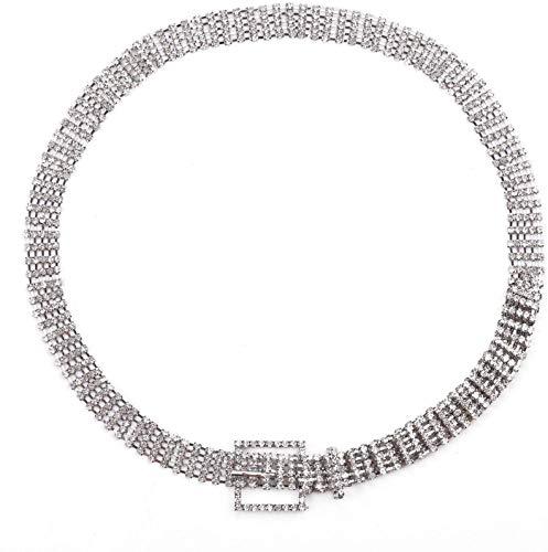 Trimming Shop - Cinturón de 5 filas de diamantes de imitación, color plateado Plateado plata L - (34