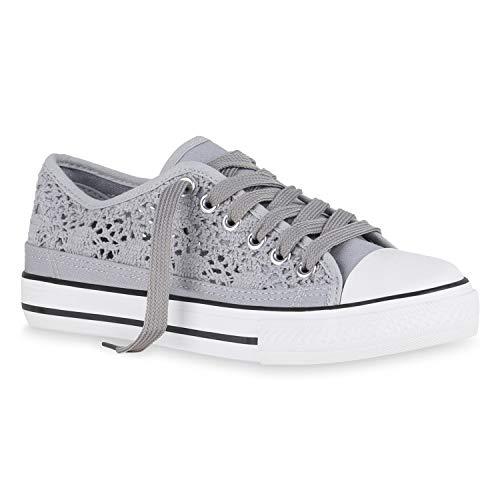 stiefelparadies Damen Sneaker Low Spitzenstoff Turnschuhe Schnürer Freizeit Schuhe 174465 Grau Spitze 37