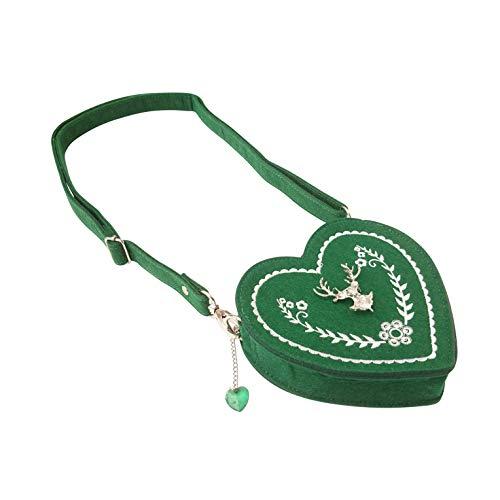 ASVP Shop Damen Oktoberfest Tasche - Herz Kostüm Tasche mit Edelweiss, Hirsch Brosche und Herz Blumen Stickerei - Schöne Handtaschen für das...