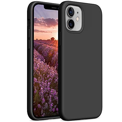 YATWIN Compatibile con Cover iPhone 12 Mini 5,4'', Custodia per iPhone 12 Mini Silicone Liquido, Protezione Completa del Corpo con Fodera in Microfibra, Nero