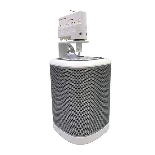 Lautsprecher Halterung - Montagebügel für 3-Phasen Stromschienen wie EUTRAC, GLOBALtrac, Ivela   Multiadapter - Plug and Play   passende Boxenhalterung für SONOS Play 1 Lautsprecher (Weiss)