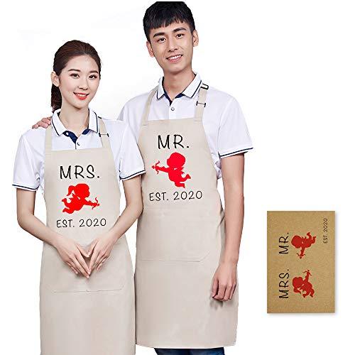 Qianshaung Delantal mr Mrs Wonderful Regalo Aniversario Regalo Novio Pareja