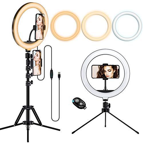 LIFEBEE Luce ad Anello LED da 10'', Dimmerabile Selfie Ring Light con Treppiede Estensibile e Supporto Smartphone, Luce per Selfie 3 Modalità Colore e 10  Luminosità per Youtube,Tik Tok,Selfie,Video